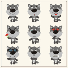 Vector set isolated emotion wolf. Collection cute wolf in cartoon style.