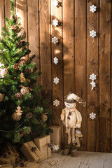 snowman, gift boxes and new year tree