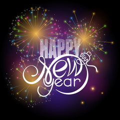 Lettering Happy New year on colorful fireworks background. Shape of text same as Xmas ball.