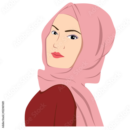 quotbeautiful islamic woman in hijab vector illustration flat