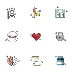 Diet, health and fitness vector icon set