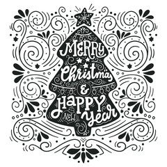 Merry Christmas and happy New Year. Lettering on Christmas tree