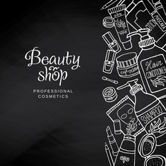 Hand drawn make-up products template on blackboard. Cosmetics background for corporate identity beauty shop. Printed materials brochures, folder, flyers, banners.