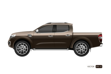 Off-road car on white background. Image of a brown pickup truck
