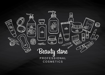 Hand drawn watercolor template on chalkboard with make-up objects - shampoo, cream, lipstick, mascara nail-polish, perfume, lotion, eyeshadow. Doodle cosmetics background for beauty shop.