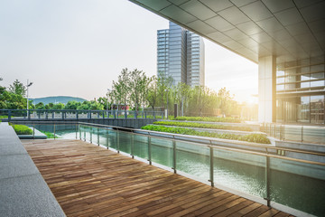empty wooden floor with modern buildings background,shanghai,china.