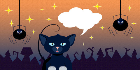 lloween illustration with cat and spiders for banner or background