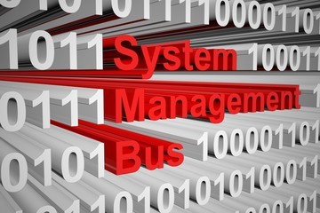 System Management Bus in the form of binary code, 3D illustration