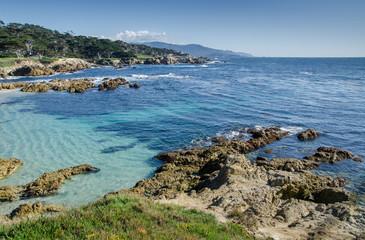 Coastline along the 17 Mile Drive in Pebble Beach of  Monterey P