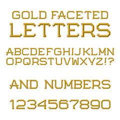 Gold faceted letters and numbers. Trendy and stylish font. Isolated latin alphabet with figures.