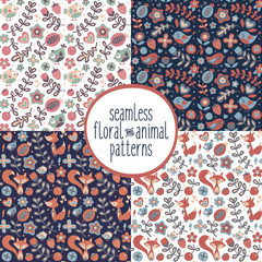 Cute set of seamless floral and animal patterns with fox, bird, flower, berry, plant, heart, cherry, strawberry, leaf