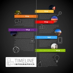 Infographic timeline report template with icons, labels and blur