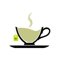 silhouette icon with green tea bags.