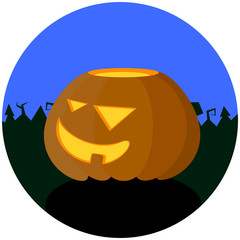 Halloween vector illustration with pumpkin. Autumn or fall season festival's object