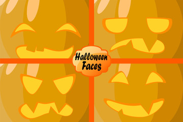 Pumpkin carved faces with emotions. Vector illustration for Halloween card or wallpaper