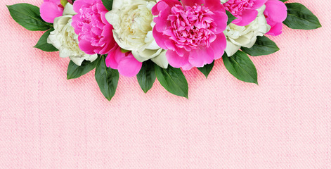 Background with pink and white peonies flowers