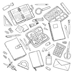 Vector sketchy outline drawing stationary set isolated on white