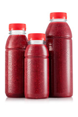 Red fruit smoothie in three size of bottle