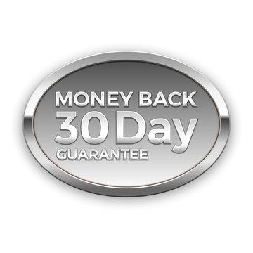 30 day money back guarantee, silver badge, vector
