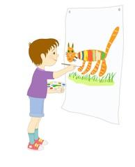Иллюстрация с изображением мальчика, который рисует красками полосатого кота на траве.