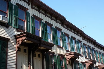 NEW YORK, NY - AUGUST 12: Sylvan Terrace wooden frame houses were built in 1882-1883 and are part of Jumel Terrace Historic District in Washington Heights, New York. (Photo by Wojciech Migda)