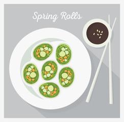 Vegetable rolls. Flat lay, vector illustration.