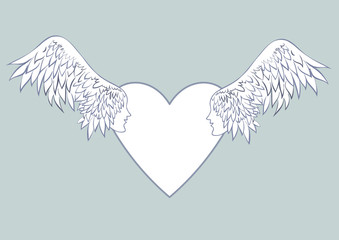 Angel wings with a human face in the frame in the shape of a heart. Pale blue background.Beautiful wedding cards or the blank wedding invitations