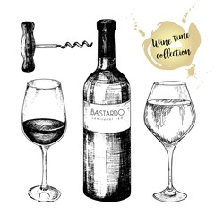 Vector set of wine collection. Engraved vintage style. Glasses, bottle and corkscrew. Isolated on white background.