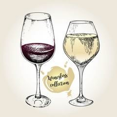 Vector set of wineglass collection. Engraved vintage style. Standard glasses for white and red wines.