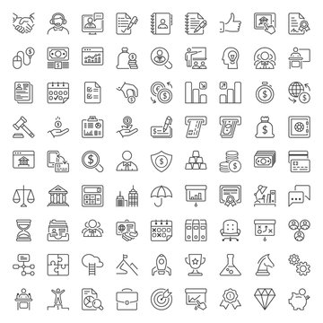 business and finance thin line iconset