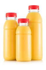 Yellow multifruit smoothie in three size of bottle
