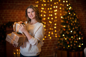 Mature woman in christmas decorations