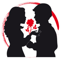 Silhouettes of Two Lovers with Red Rose