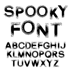 Vector black alphabet - spooky font, capital letters with spot design, dotted effect