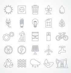 vector set of energy line icon