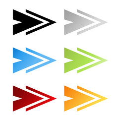 Vector black, grey, blue, green, red and orange arrow symbols. Simple arrow buttons. Pointer on web. Sign of next, read more, play, go etc.
