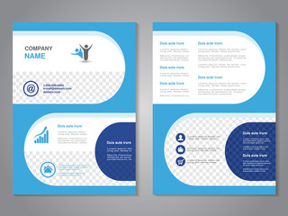 Vector modern brochure, abstract flyer, simple design with rounded shapes. Layout template. Aspect Ratio for A4 size. Poster of blue, dark blue and white color. Magazine cover with human symbol.