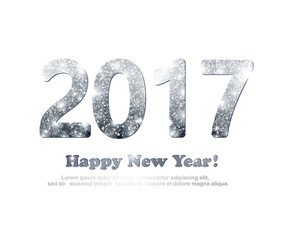 The silver glitter New Year 2017 in modern style.