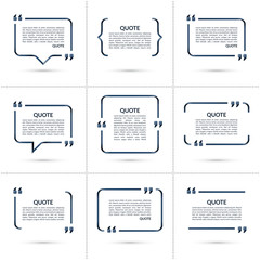Set of vector quote templates. Speech bubble, blank frame for citations, text in brackets isolated on white background