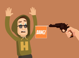 Offender and victim characters. Vector flat cartoon illustration