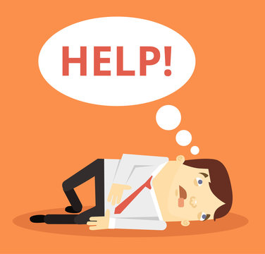 Office worker character need help. Vector flat cartoon illustration