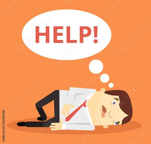 """Office worker character need help. Vector flat cartoon ..."