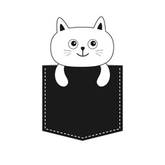Cat in the pocket. Cute cartoon kitten contour character. Dash line. Pet animal collection. White and black color. T-shirt design. Baby background. Isolated. Flat