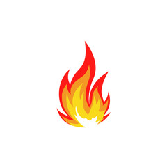Isolated abstract red and orange color fire flame logo on white background. Campfire logotype. Spicy food symbol. Heat icon. Hot energy sign. Vector  illustration.