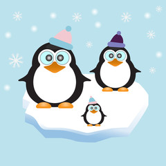 Penguin family in Ice Theme Background