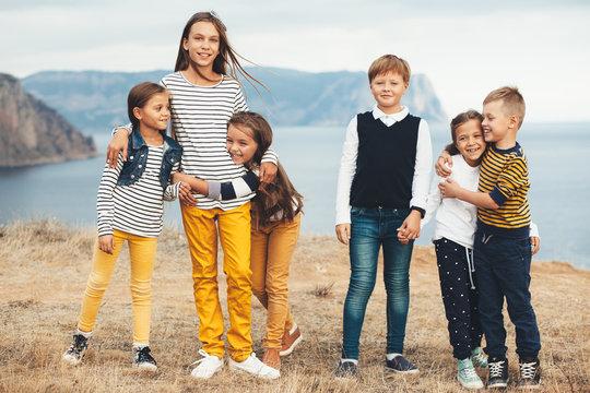 Fashion children in autumn field