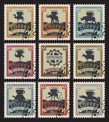 postage stamps with coffee beans from different countries with animals