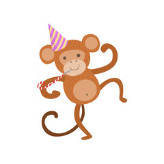 Monkey Cute Animal Character Attending Birthday Party