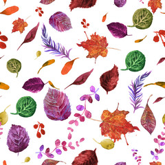 Watercolor seamless pattern with autumn leaves.