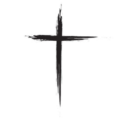 Hand drawn black grunge cross icon, simple Christian cross sign, hand-painted cross, Cross painted brushes. Easter background.